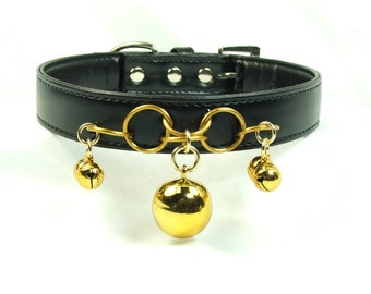 Bondage Collar Gold Slave Bell BDSM Collar mature