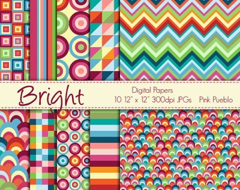 Digital Papers Printable Papers Scrapbook Papers - Bright Geometric - Commercial and Personal Use