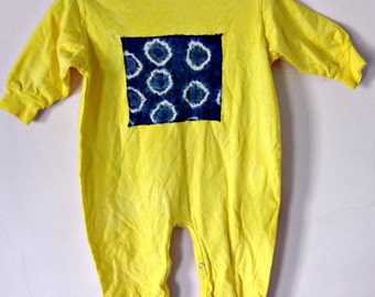 18 Months Yellow Romper Tie Dyed Cotton
