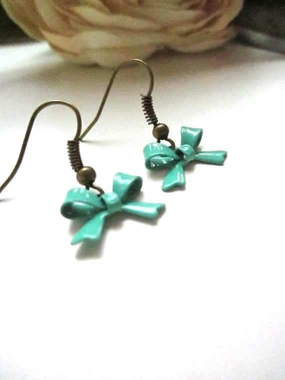 Turquoise Bow Dangle Earrings