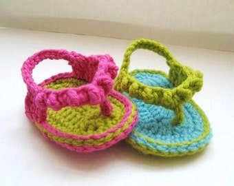 Crochet Pattern Sandals for Baby , Baby Flip Flops or Thongs for Girls, Crochet Pattern in 4 sizes( pdf pattern for sale)