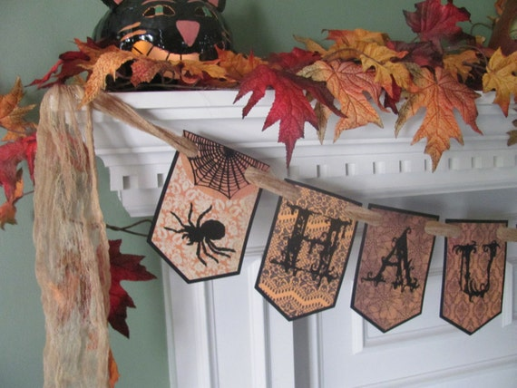 "Victorian Inspired HAUNTED"" Halloween Banner featuring Gothic Style Lettering with Spiders & Bats"