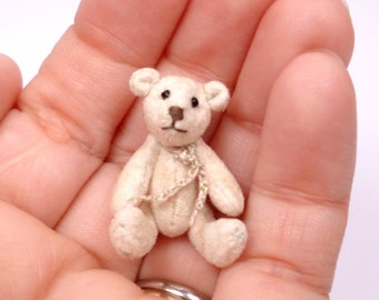 Micro Miniature Artist Bear, Cream 3.5cm / 1.5inches by VonneBears