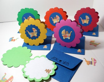 Baby Cards- Mini- Announcement- Shower- Thank You- Boxed Set- 6 Cards- Primary Colors- Handmade