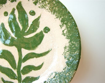 Leaf Spoon Rest In Country Green and Cream