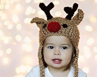 Baby Hat - Reindeer Hat - Baby Reindeer Hat -  6-12 months  Cute and Soft Earflap - by JoJosBootique