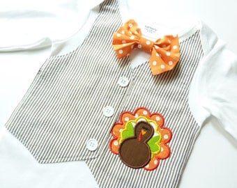 Adorable Thanksgiving Turkey Brown Seersucker Tuxedo Bodysuit Vest with Removable Matching Bow Tie