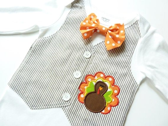 Adorable Thanksgiving Turkey Brown Seersucker Tuxedo Bodysuit Vest with Removable Matching Bow Tie