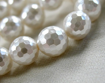 "8mm White Faceted Round South Sea Shell Pearls,full 16"" strand, 50 pearls"
