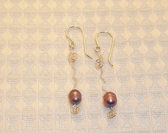 Sterling Silver Filled Freshwater Pearl Earrings FREE SHIPPING