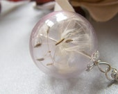 Real Dandelion Necklace Hand Blown Pink Glass Orb Bead Fairy Globe - MAKE A WISH - Bridesmaid