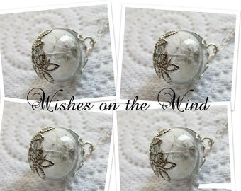 Bridesmaid Necklace Gift Set of 4 - Dandelion Wish Tiny Glass Globe - Wedding Jewelry
