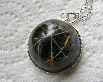 Dandelion Seed Pendant, Botanical Necklace, Nature, Eco Necklace, Black Resin