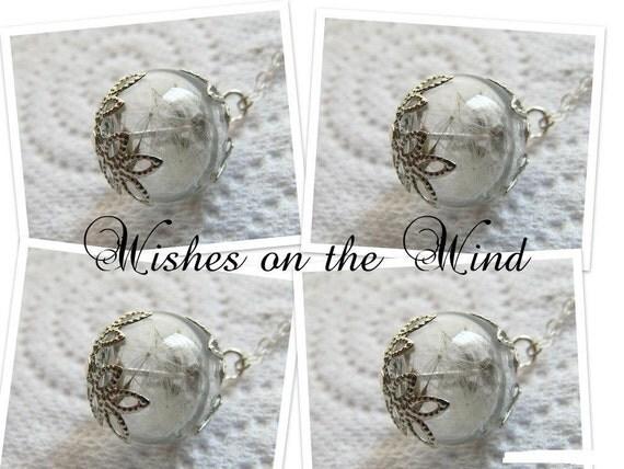 Bridesmaid Necklace Gift Set of 4 - Dandelion Wish Tiny Glass Globe - Wedding Jewelry