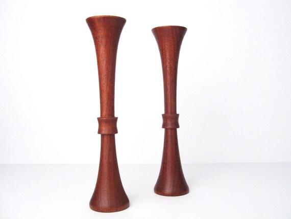 RESERVED:  Danish Modern Teak Candle Holders - Vintage Mid-Century Candlesticks