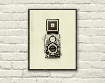 VINTAGE CAMERA LOVE - 8.5 x 11 Art Print, Poster, Heart, Music, Nursery, Boutique, Hipster, Vintage Style, Retro Home