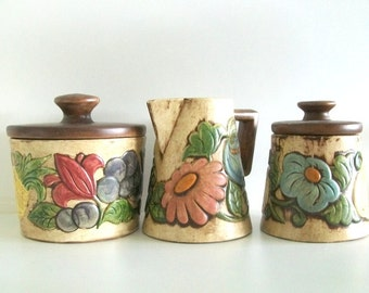 1960s Ceramic Coffee, Cream & Sugar Set