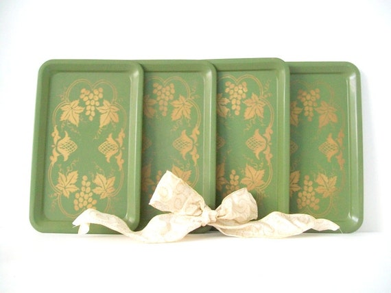 Vintage Green & Gold Party Trays