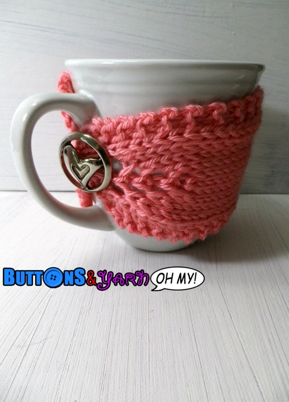 Pink Knit Cozy with Heart button closure