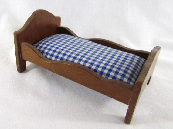 Vintage Dollhouse Wood Bed Single with Mattress