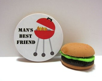 Grill - Man's Best Friend- Funny Wood Magnet