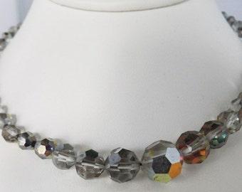 Vintage jewelry necklace in black spacer and smokey grey Aurora Borealis cut Swarovski crystals necklace Sale half price