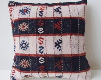 Handwoven Turkish Rug Pillow Cover, Decorative Pillows, Accent Pillow, White, red, black, Kilim Pillow Cover, Vintage Pillow, Lumbar Pillow