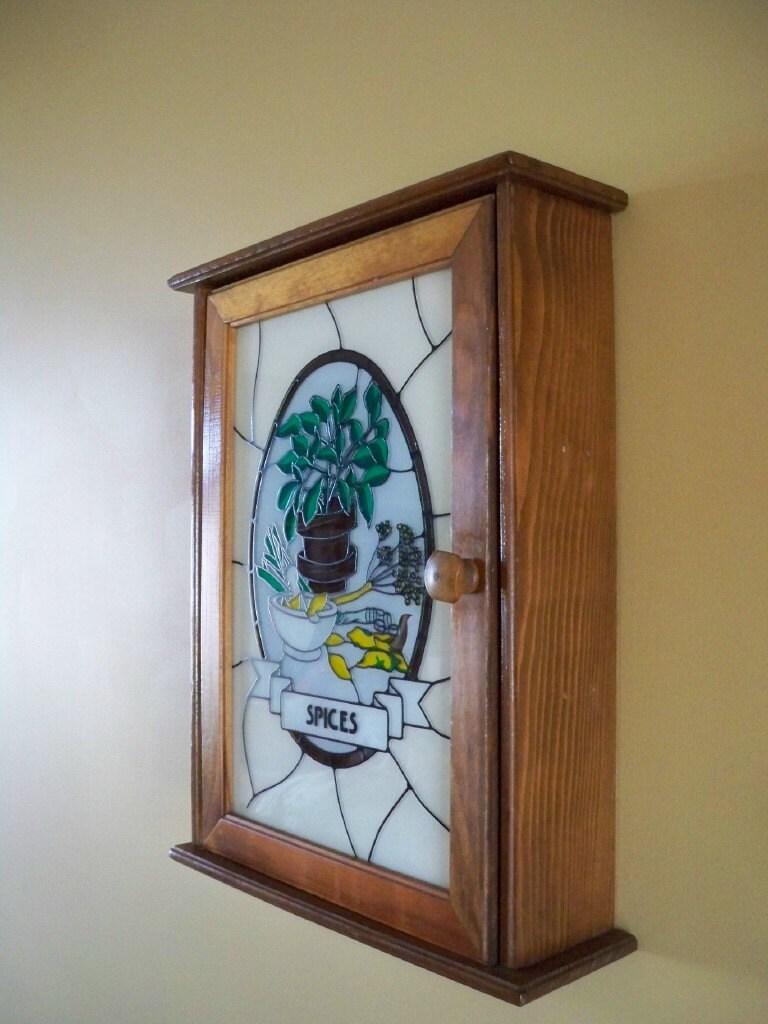 Vintage Wooden Spice Rack With Glass Door