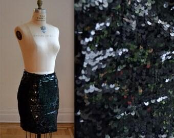 Vintage Black Sequin Skirt Size Medium// Vintage Black Party Skirt
