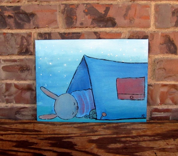 Children Decor, Whimsical Camping Original Painting for Kids, Rabbit Woodland Nursery Art