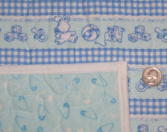 Traditional Flannel Baby Boy Quilt 38x46