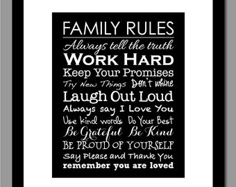 "Family Rules Poster Print - Subway Art Print - Kitchen or Foyer Art Print - 16""x20"" Poster Size"