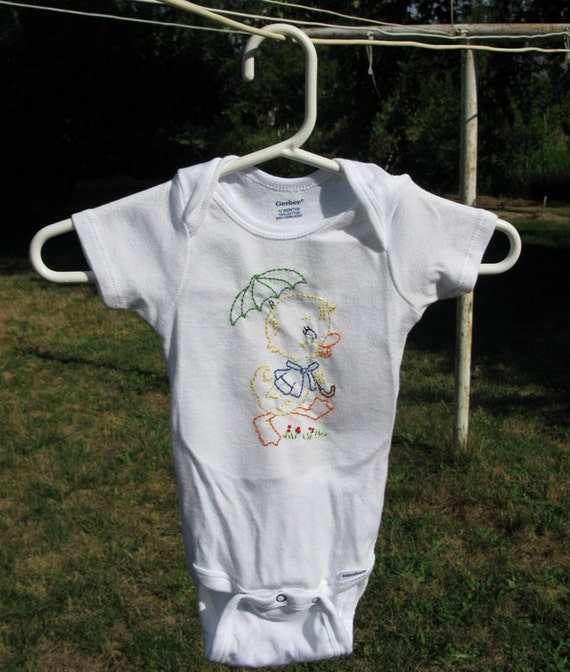 Hand Embroidered Ducky Onesies