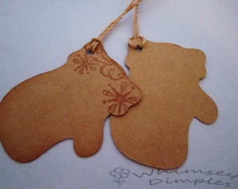 Mitten Kraft Hang Tag Winter Holiday Gift Tag Set of 10 Hand Stamped