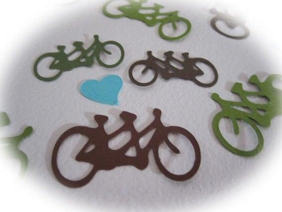Tandem Bicycle Wedding Confetti Brown, Sage, Turquoise Party Decor 125 pc TeamScrapbookNinjas