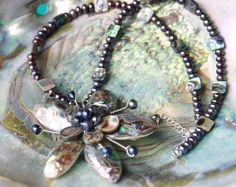 Abalone Paua Shell and Black Freshwater Pearl Sterling Silver wire wrapped Pendant and necklace