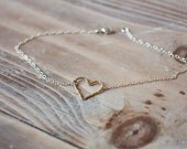 Hammered Heart Anklet - Gold Filled Heart on Sterling Silver Chain - Mixed Metal Anklet - Simple Summer Beach Anklet - Valentine's Day Gift