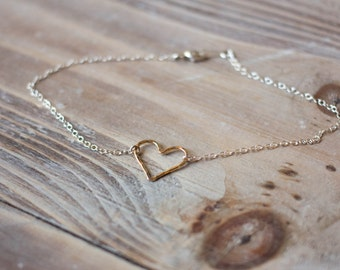 Hammered Heart Anklet - Gold Filled Heart on Sterling Silver Chain - Mixed Metal Anklet - Simple Summer Beach Anklet - Christmas Gift
