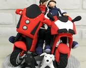 Custom Wedding Cake Topper - Bike mania couple -