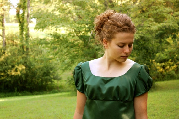 Forest Green Regency Dress, Reenactment Costume, and Formal Ball Gown, Junior 7,  Misses 8