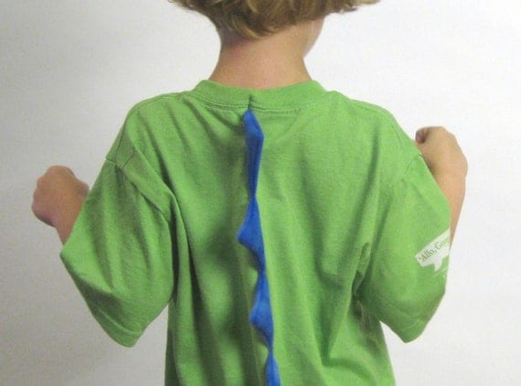 Velocirapture - Hand sewn, hand screened dinosaur spiked T shirt size child Small - green, blue