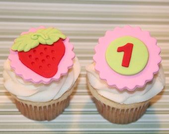 Fondant cupcake toppers Strawberry