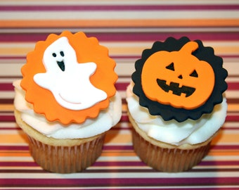 Fondant cupcake toppers Halloween Ghost Pumpkin