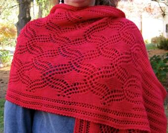 Knit Wrap Pattern:  Lace Bell Tower Shawl Knitting Pattern