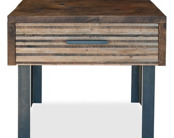 Lake Tahoe End Table - Reclaimed wood and Iron