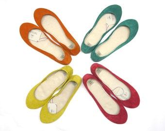 Bridesmaids Shoes - Handmade Leather Ballet Flats set of 4