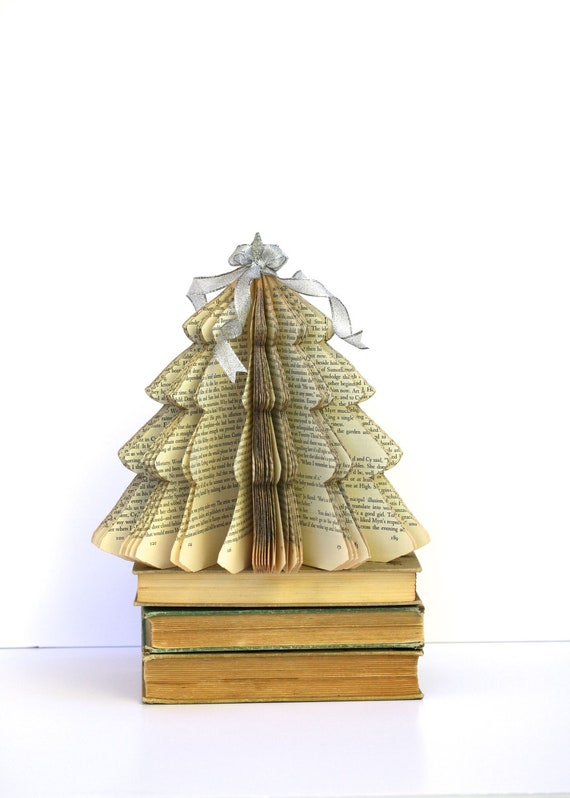 Vintage book christmas tree teacher gift size small by for Christmas tree made from old books