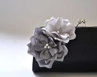 Black - Gray - Silver - Bridal Clutch / Bridesmaid Clutch - Custom color