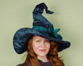wizard or witch hat- LAUREL - Dark Teal Magic - Halloween