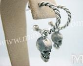Sterling Silver Skull Hoop Earrings